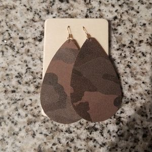 Genuine Leather Camo Earrings